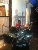 2nd grader on drums